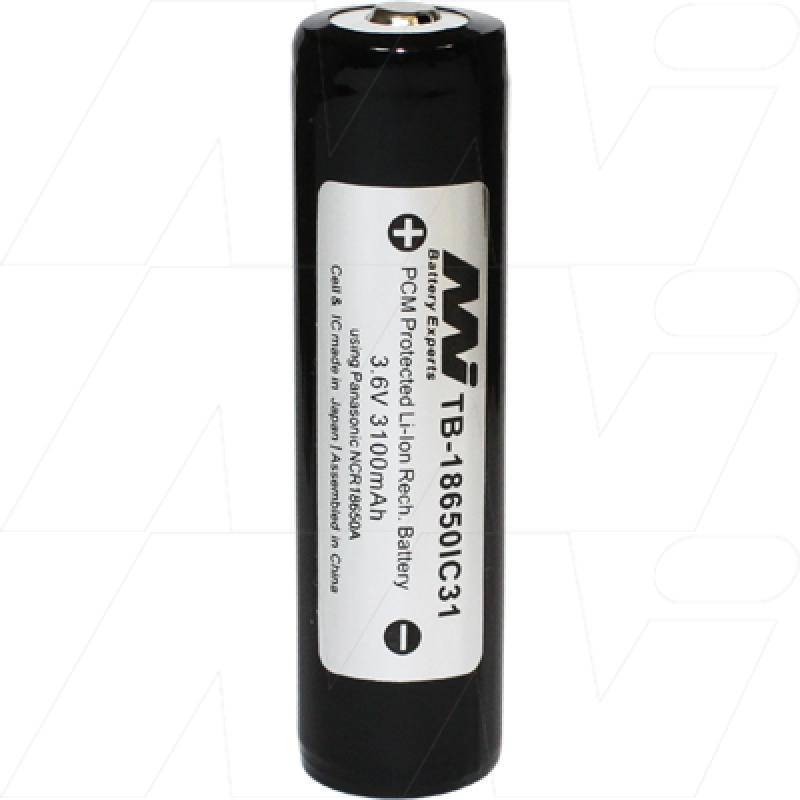 Protected 3100mAh 18650 size Lithium Ion Torch Battery