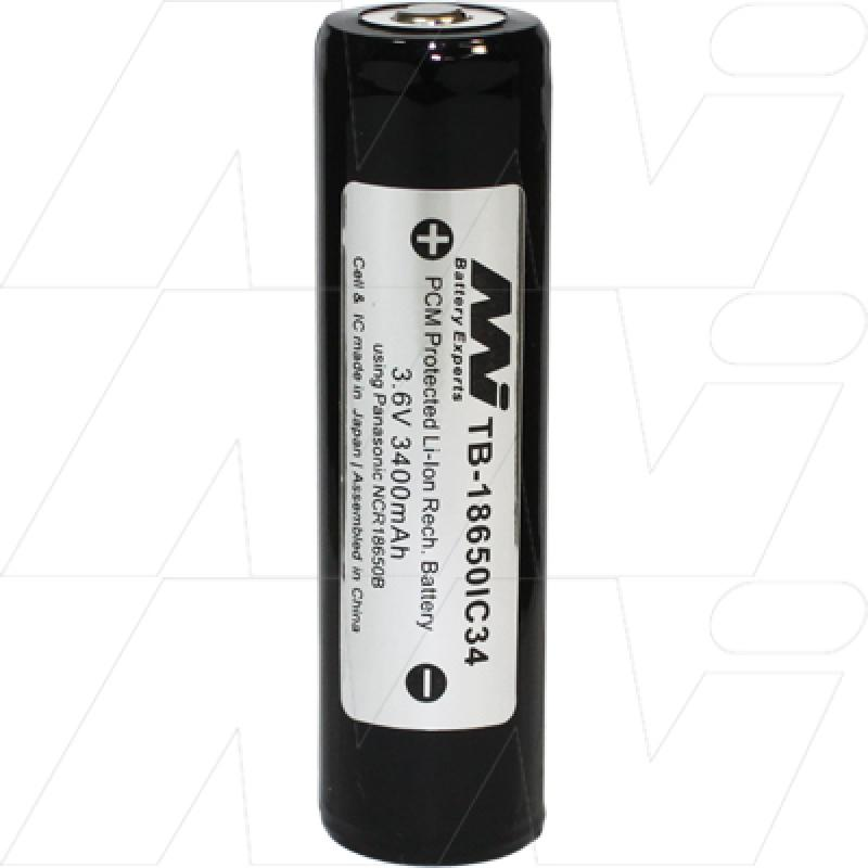 Protected 3400mAh 18650 size Lithium Ion Torch Battery, Ultra High Capacity