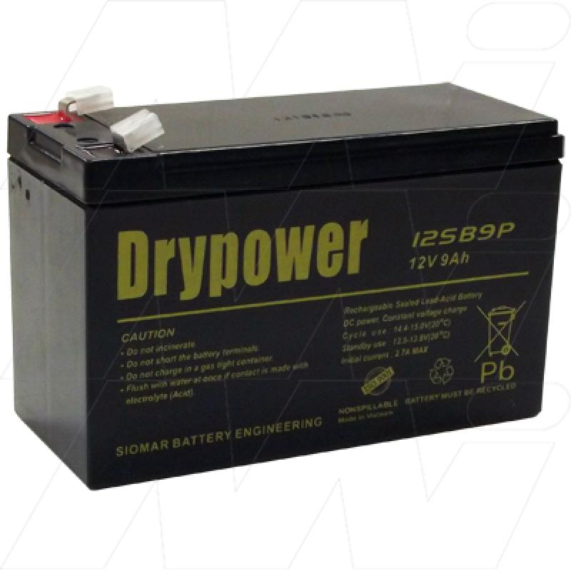 Drypower 12SB9P-F1 - 12V, 9Ah Sealed Lead Acid Battery for Cyclic and Standby