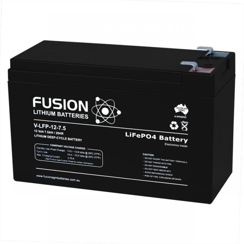 Fusion V-LFP-12-7.5 - Lithium Battery 12v, 7.5Ah