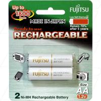Fujitsu Rechargeable AA 2Pk Low Self Discharge/1800 Recharges