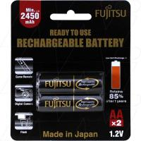 Fujitsu Rechargeable AA 2Pk High Capacity Low Self Discharge/500 Recharges