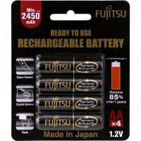 Fujitsu Rechargeable AA 4Pk High Capacity Low Self Discharge/500 Recharges
