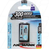 Ansmann 9V E Type 300mAh NiMH Low Self Discharge Blistercard of 1