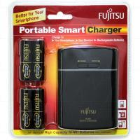 Fujitsu 4x AA/AAA cell Quick Battery Charger & Powerbank including 4 x AA 2.45Ah