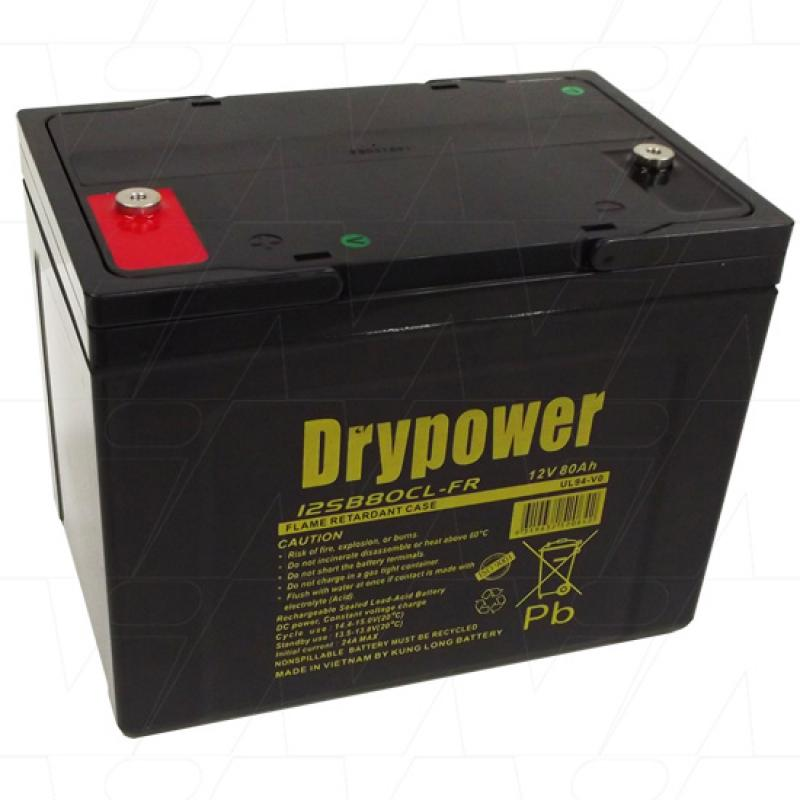 Drypower 12V 80Ah Deep Cycle AGM Battery - 12SB80CL-FR