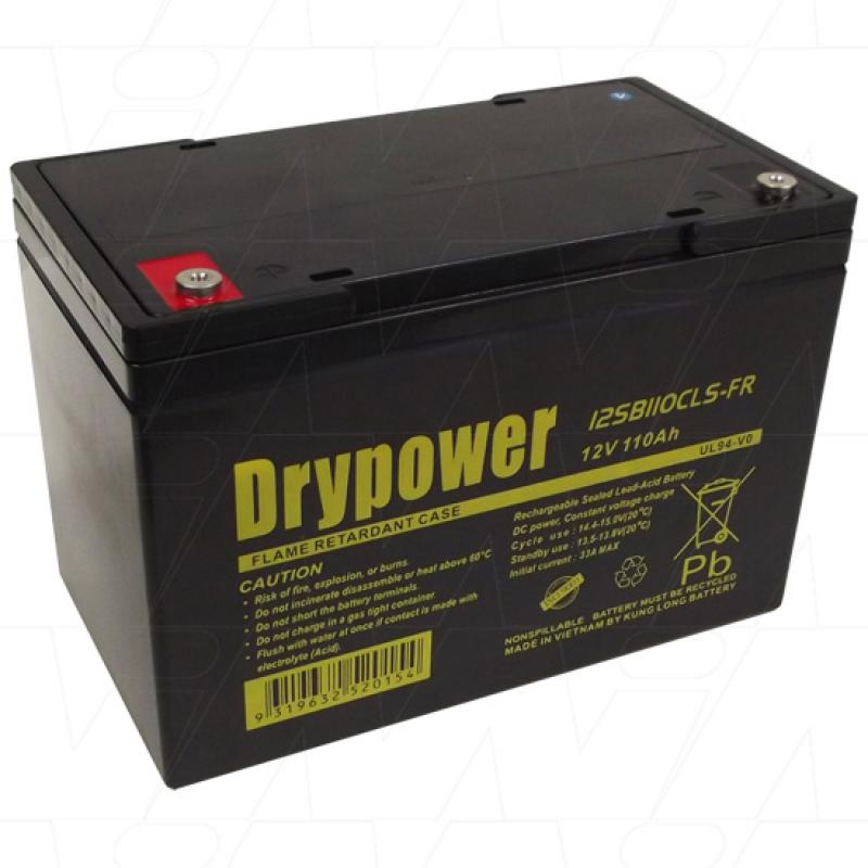 Drypower 12V 110Ah Deep Cycle AGM Battery - 12SB110CLS-FR