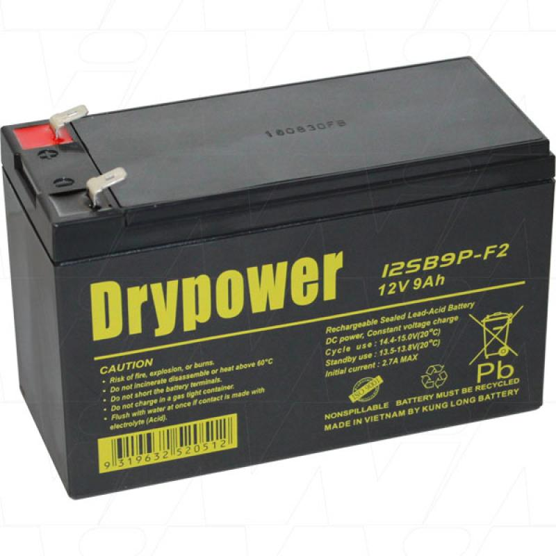 DRYPOWER 12SB9P-F2 - 12V, 9AH SEALED LEAD ACID BATTERY FOR CYCLIC AND STANDBY