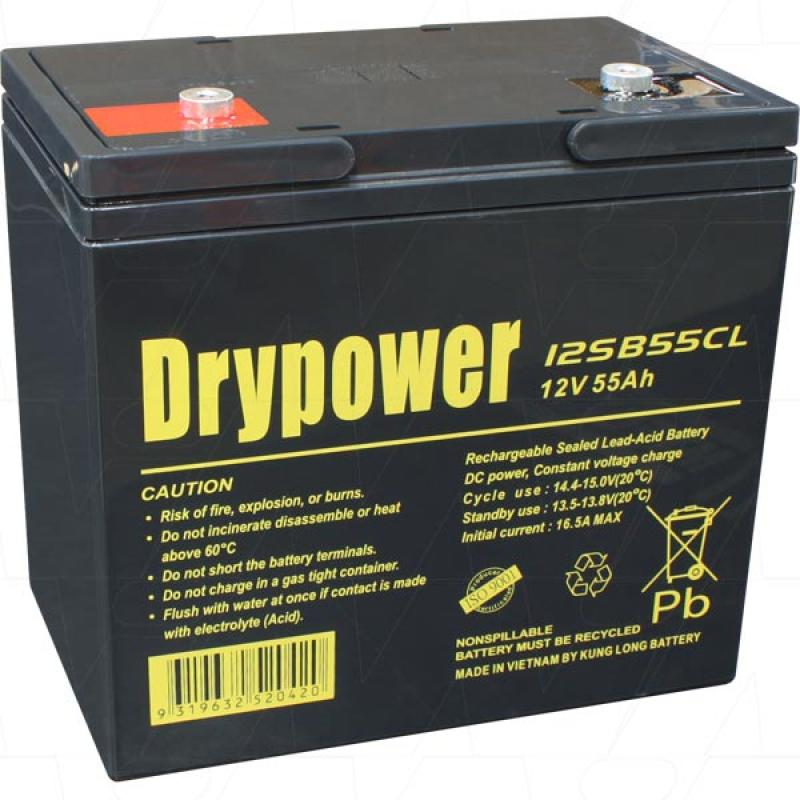 Drypower 12V 55Ah SLA Deep Cycle AGM Battery - 12SB55CL