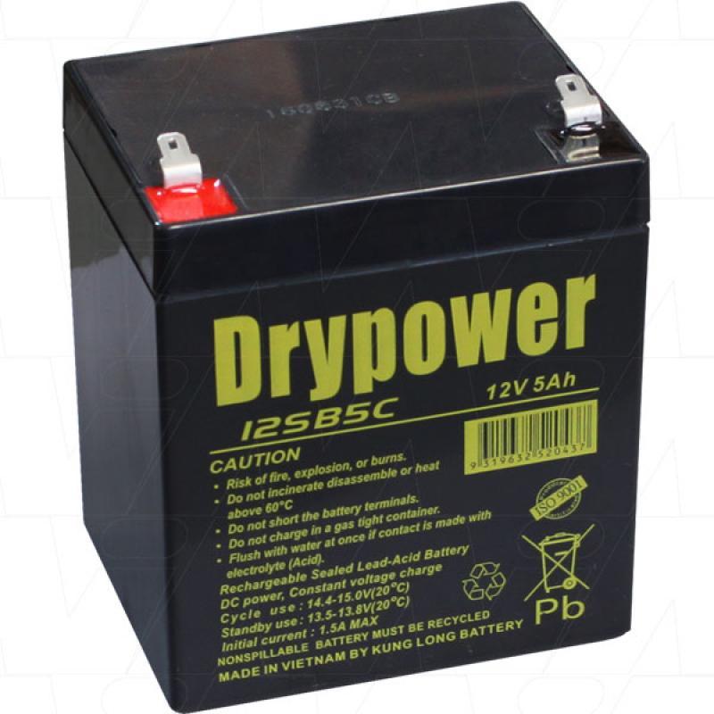 Drypower 12V 5Ah SLA Battery for Cyclic Use - 12SB5C