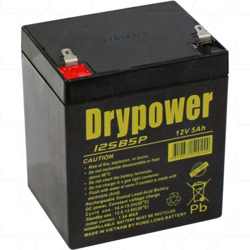 Drypower 12V 5Ah SLA Battery for backup and cyclic use - 12SB5P