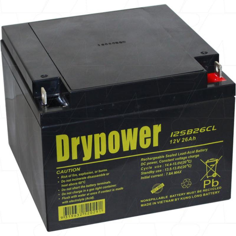 Drypower 12V 26Ah AGM Golf Battery - 12SB26CL