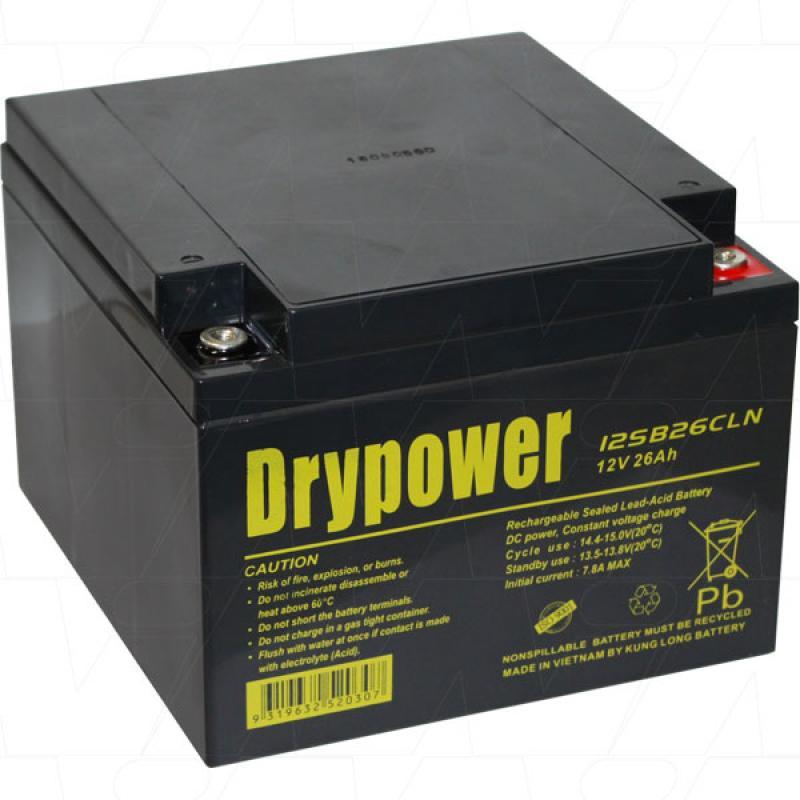 Drypower 12V 26Ah AGM Golf Battery - 12SB26CLN (screw in terminals)