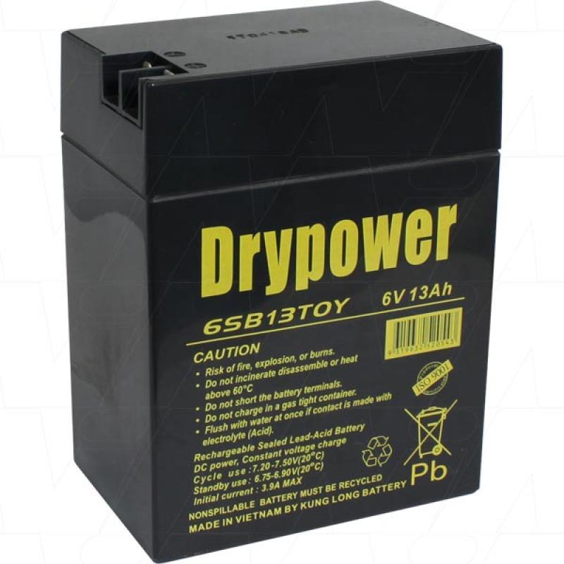 Drypower 6V 13Ah SLA AGM Battery for ride on toy cars - 6SB13TOY