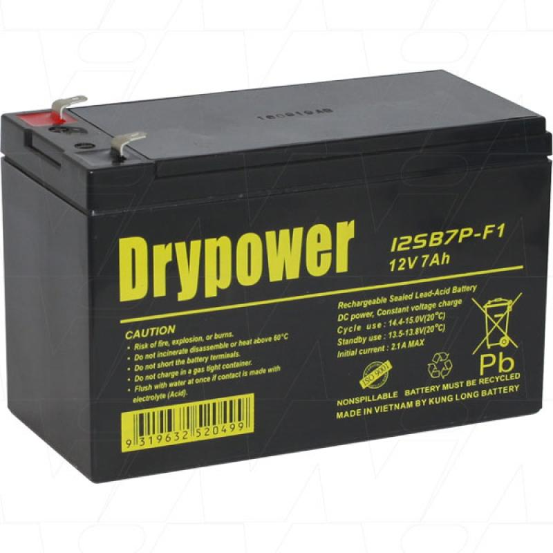 Drypower 12V 7Ah SLA Battery - 12SB7P-F1