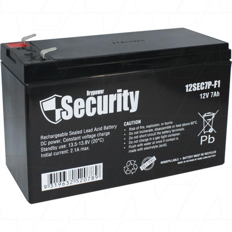 Drypower 12V 7Ah SLA Battery - 12SEC7P-F1