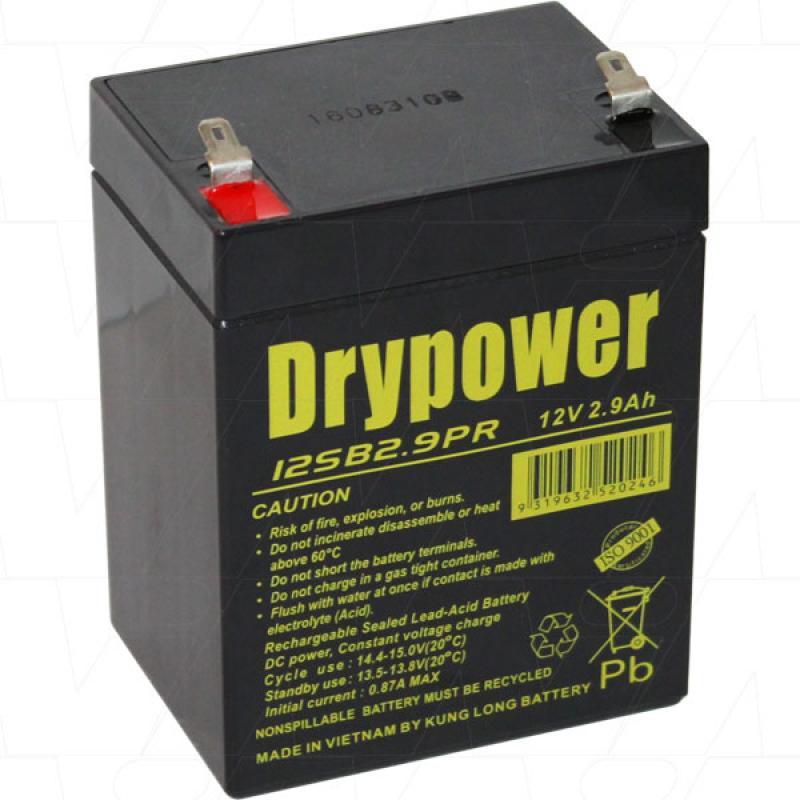 Drypower 12V 2.9Ah SLA Battery - 12SB2.9PR