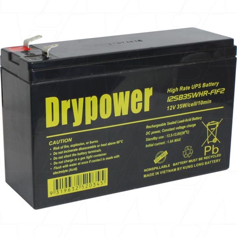 Drypower 12V 7Ah 35W UPS Battery - 12SB35WHR-F1F2