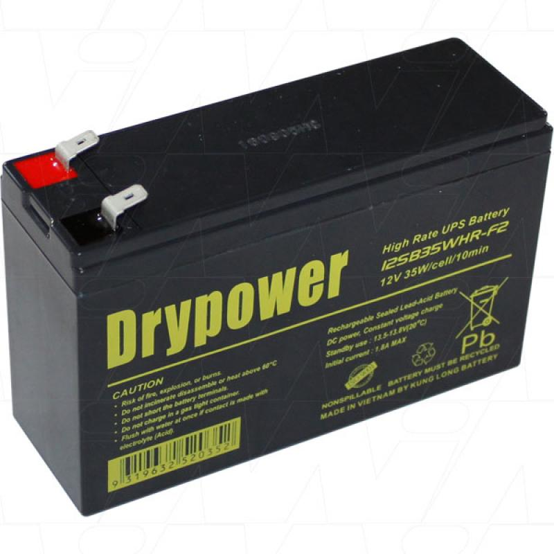 Drypower 12V 7Ah 35W UPS Battery - 12SB35WHR-F2