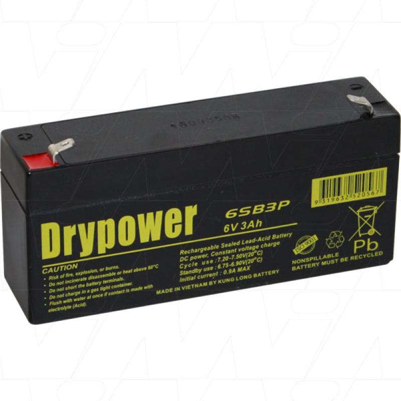 Drypower 6V 3Ah SLA Battery - 6SB3P