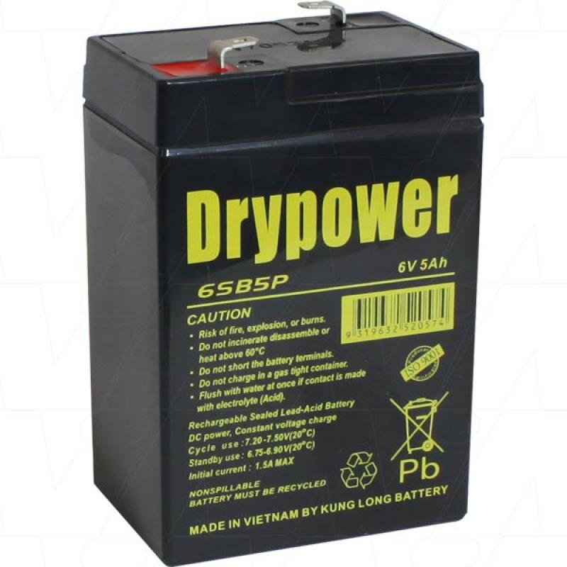 Drypower 6V 5Ah SLA Battery - 6SB5P