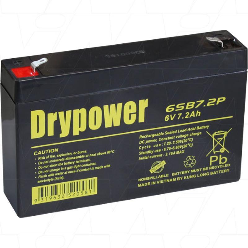 Drypower 6V 7.2Ah SLA Battery - 6SB7.2P