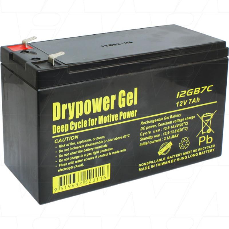 Drypower 12V 7Ah Deep Cycle Gel Battery - 12GB7C