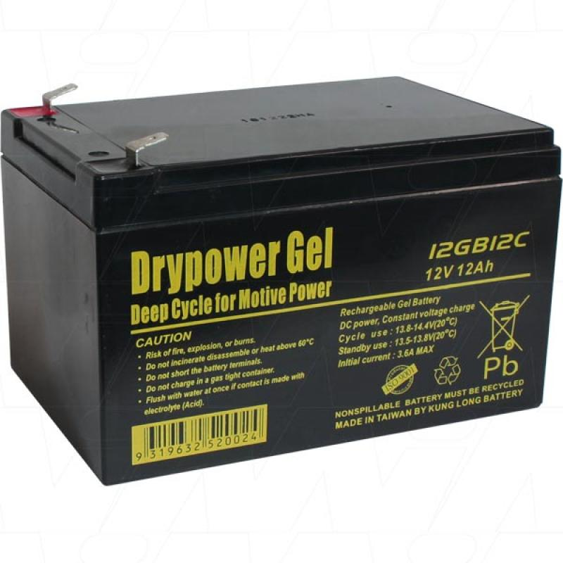 Drypower 12V 12Ah Deep Cycle Gel Battery - 12GB12C