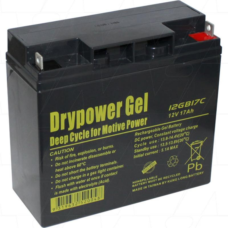 Drypower 12V 17Ah Deep Cycle Gel Battery - 12GB17C