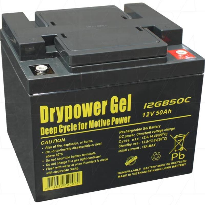 Drypower 12V 50Ah Deep Cycle Gel Battery - 12GB50C