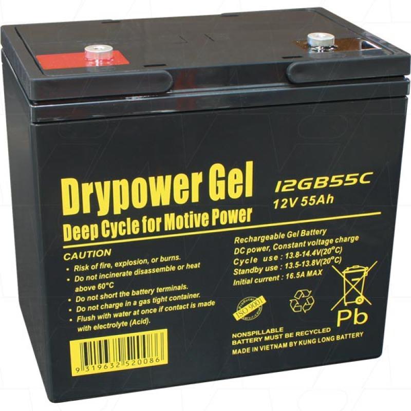 Drypower 12V 55Ah Deep Cycle Gel Battery - 12GB55C