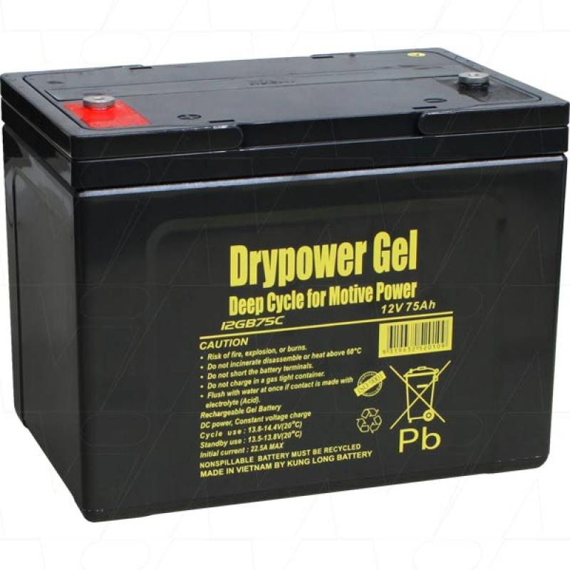 Drypower 12V 75Ah Deep Cycle Gel Battery - 12GB75C