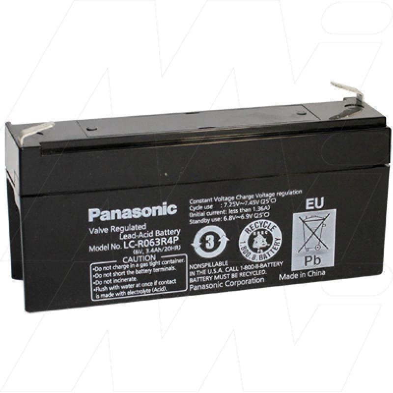 Panasonic 6V 3.4Ah Dual Purpose SLA Battery - LC-R063R4P