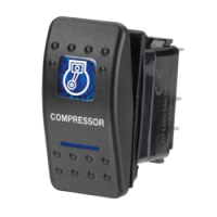 Narva 63140BL - 12 Volt Illuminated Off/On Sealed Rocker Switch with 'Compressor' Symbol