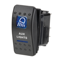 Narva 63144BL - 12 Volt Illuminated Off/On Sealed Rocker Switch with 'Aux Lights' Symbol