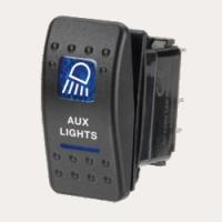 Narva 63144BL - 12 Volt Illuminated Off/On Sealed Rocker Switch with 'Aux Lights' Symbol
