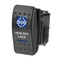Narva 63138BL - 12 Volt Illuminated Off/On Sealed Rocker Switch with 'Rear Diff Lock' Symbol