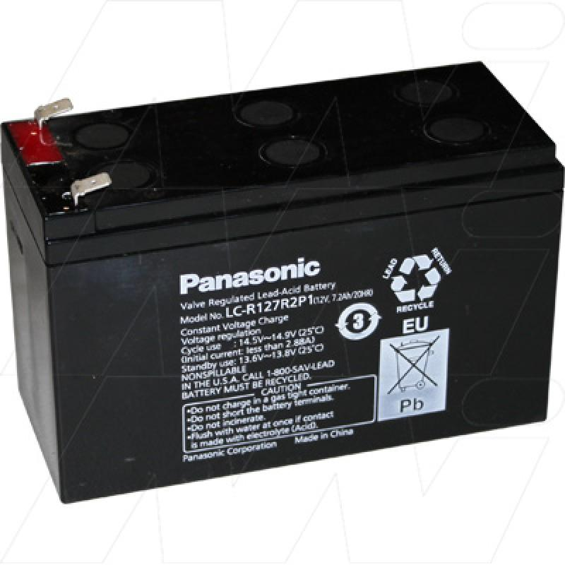 Panasonic LC-R127R2P1 - 12V, 7.2Ah Sealed Lead Acid Battery for Cyclic