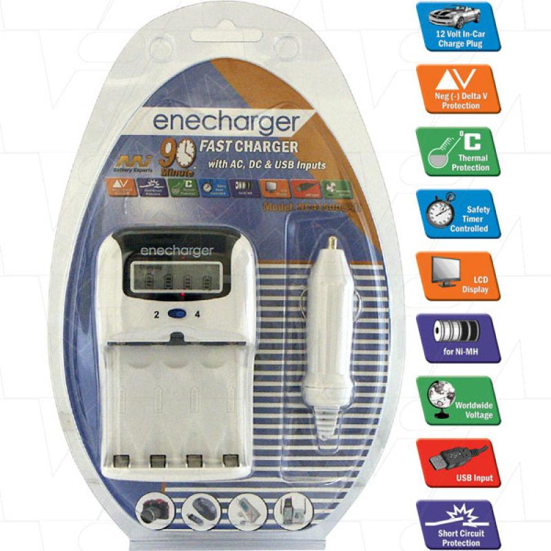 4 cell automatic quick charger for 2 or 4 AA & AAA NiMH cells