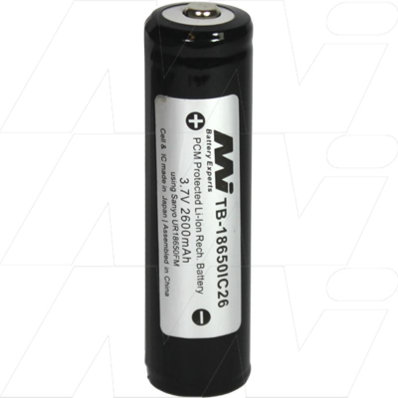 Protected 2600mAh 18650 size Lithium Ion Torch Battery