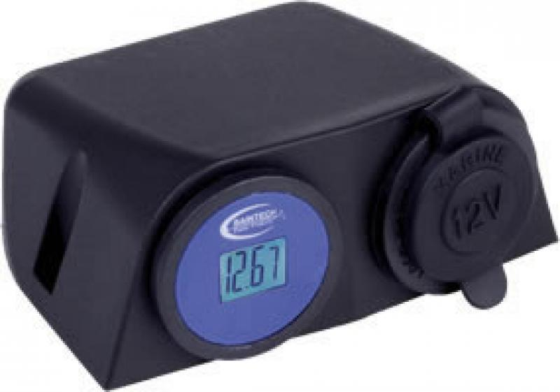 BAINTECH Surface Mount Double DC 12 Volt LCD Volt Meter + Ciga Socket