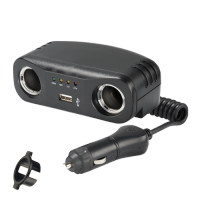 Narva 81052BL - Cigarette Lighter Plug with Extended Lead, Twin Accessory Sockets and USB Socket