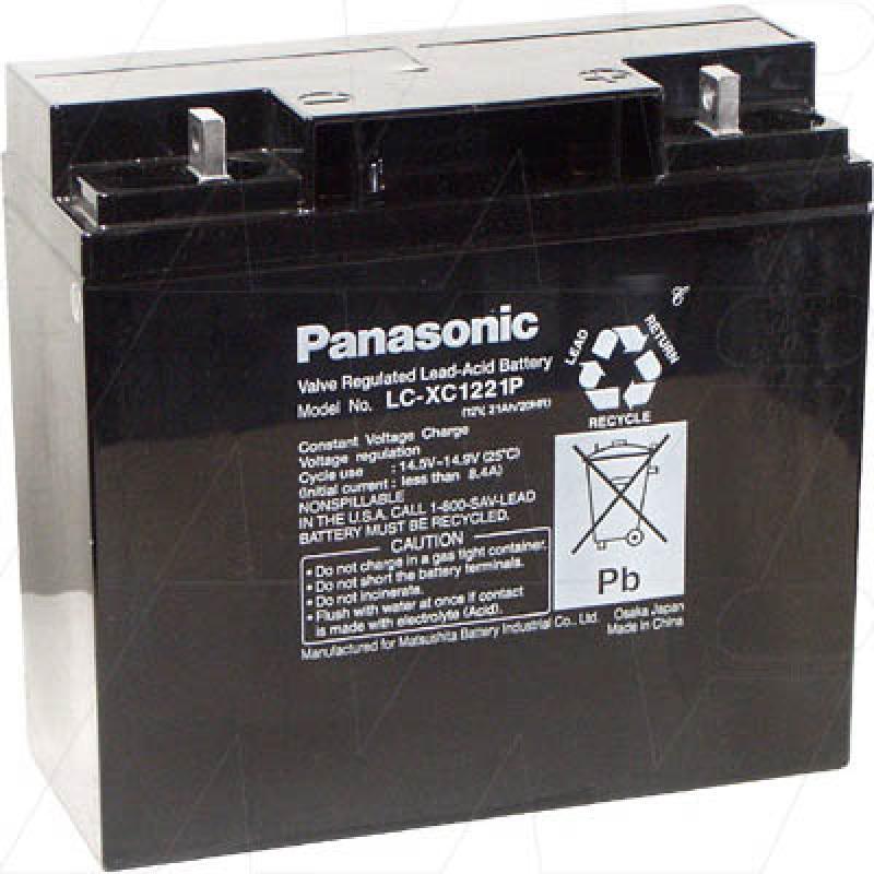 Panasonic LC-XC1221P - 12V, 21Ah Sealed Lead Acid Battery, Cyclic type
