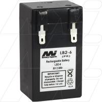 LB2-6 6V, 2Ah Sealed Lead Acid Battery