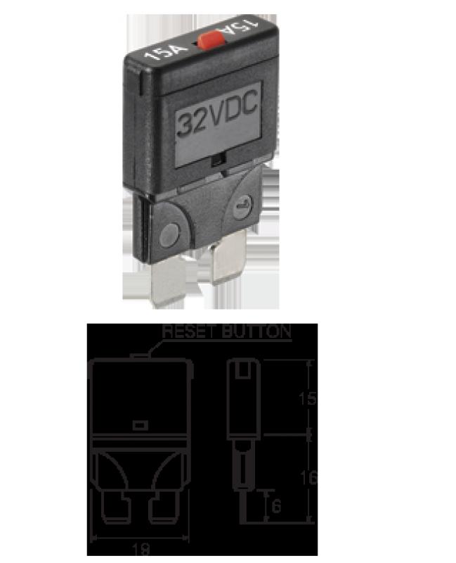 NARVA 55725 - 25A Standard Blade Fuse Circuit Breaker